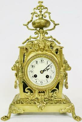 Antique 19thC French 8 Day Bell Striking Bronze Ornately Decorated mantel Clock