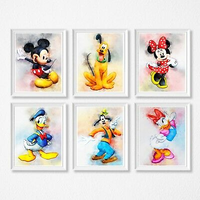 Mickey Mouse  Wall decor Prints, Minnie mouse, donald duck, goofy, pluto, daisy