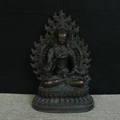"10"" China old Tibet copper Buddhism Dorje Grandmaster Buddha statue"