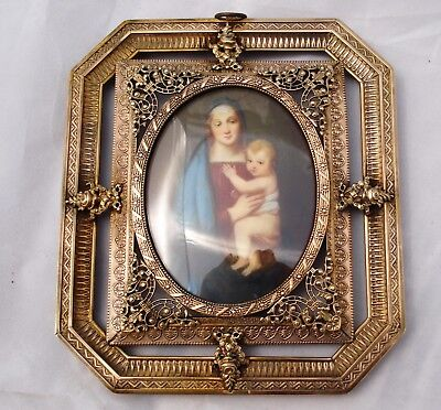 Antique Miniature Portrait Ormolu Virgin and Child signed Murillo?Picture Frame