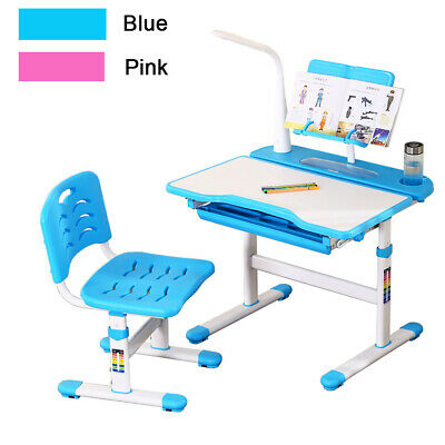 Super Pink Blue Height Adjustable Study Desk Table Chair Set Kids Gmtry Best Dining Table And Chair Ideas Images Gmtryco