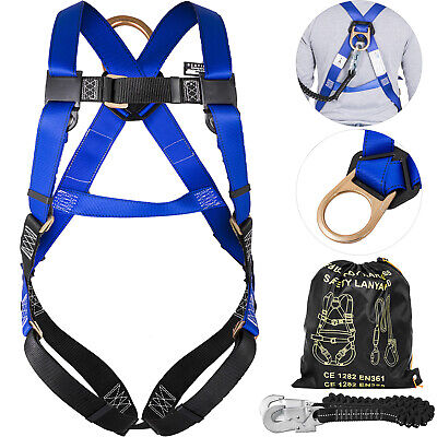 Harness and Lanyard Combo Protection Set Full Body Polyester Roofers Carpenters