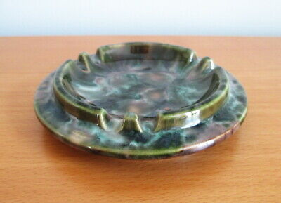 """Beauce Pottery Ashtray 1583 Mottled Brown Round 5"""" Beauceware 1970s Quebec"""