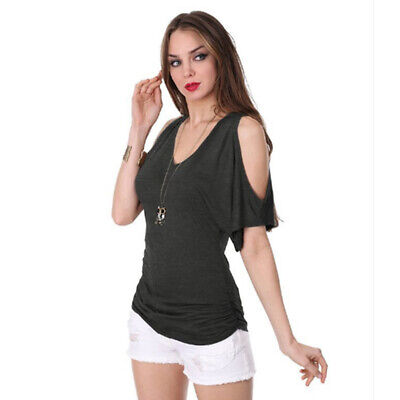 Women V Neck 3/4 Sleeve Cold Shoulder Blouse Ladies Casual Party Shirt Tops LH