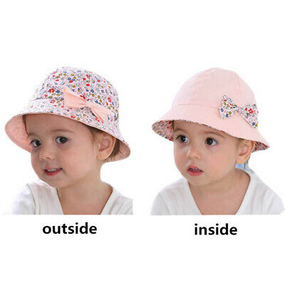 Baby Girls Small Floral Print Bucket Hat Cap Double Side Bow Fisherman Hat N7
