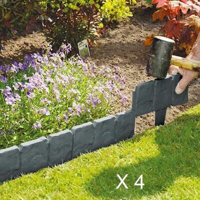 New 40pcs Plastic Cobbled Dark Grey Stone Effect Garden Edging Lawn Plant