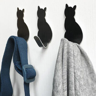 Black Cat Print Shaped Coat Hook Hooks Wall Mounted Door Hanger Kitcthen Tool N7