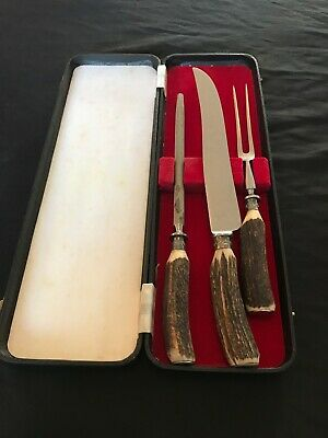 Vintage Large A.WRIGHT & SON Sheffield Carving Set With Stag Horn Handles