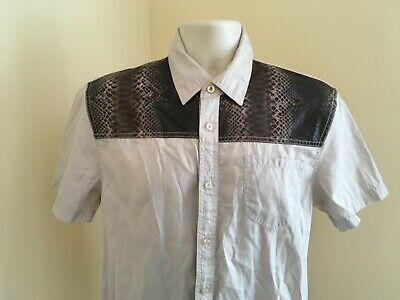 377991ca Black Smith Shirt Men's Large Tan Brown Beige Reptile Print Yoke Short  Sleeve