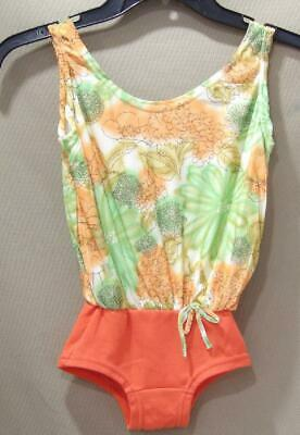 VTG 60s 70s GIRLS SLINKY KNIT ORANGE FLORAL BATHING SWIM SUIT NEW OLD NOS 7/8