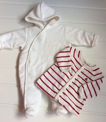 Baby  0-3 Months Velour Stripe GAP Playsuit & Little Nosh Cream Velour Pramsuit