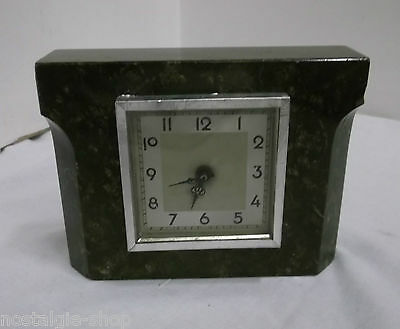30er 40er Years Mantel Clock Table Granit Mechanical Watch Antique 30s 40s