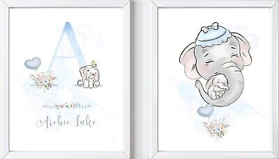 2 A4 Personalised baby elephant safari print picture gift nursery bedroom child