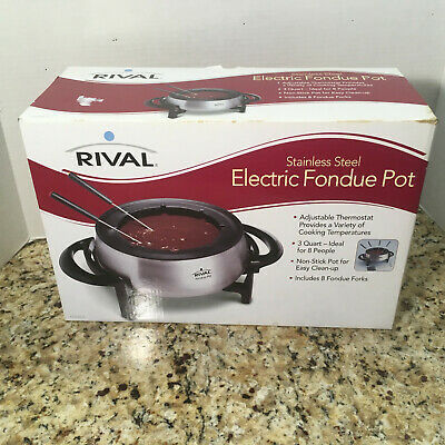 NEW Rival 3 QT Non-Stick Electric Fondue Pot 8 Forks Stainless Steel Easy Clean!