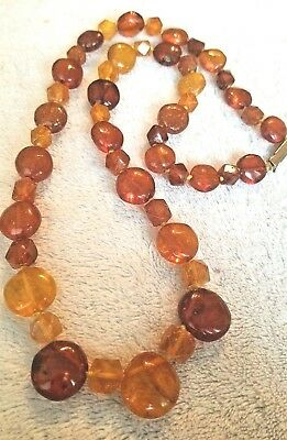 Vintage Butterscotch Cognac Baltic Genuine Amber Bead Round Necklace