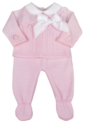 Baby girl BOW Spanish style knitted outfit set leggings pants top