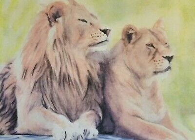 Original lion aceo sketch card watercolour painting Signed