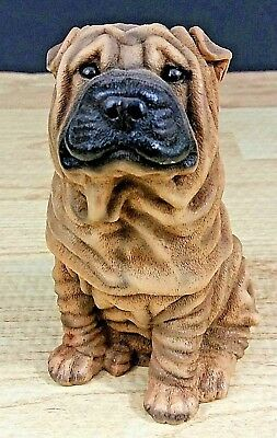 CASTAGNA Shar Pei Wrinkled Dog Figurine 1988 Vintage Italy Brown Cast Resin