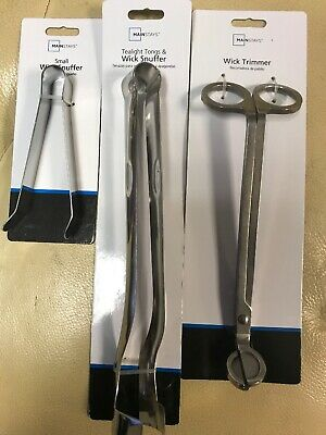 lot of 3pcs MAINSTAYS Small Wick Snuffer Clip, Wick Trimmer, & Bell Wick Snuffer
