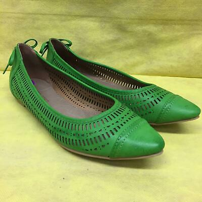 502e7ee46 Restricted Womens 8.5 8 1/2 Green Leather Sock Flats ballet Shoes w Bow  Unworn