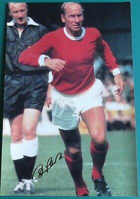 Sir Bobby Charlton Signed Manchester United Large Photo AFTAL COA