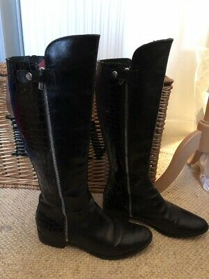 b38469b65c6 CLARKS LICORICE SNAP Black Leather Knee High Boots Size 8 - £22.00 ...