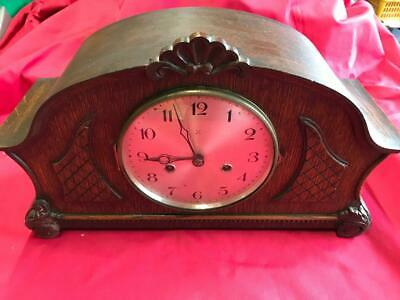 LOVELY VINTAGE WOODEN HAC CROSSED ARROWS MANTLE CLOCK with BRASS MOVEMENT