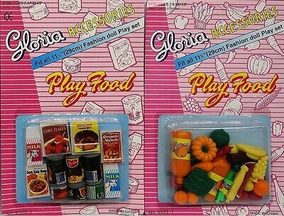 2SET Gloria Accessories Barbie Size Dollhouse Fridge Food Fruits Vegetables Play