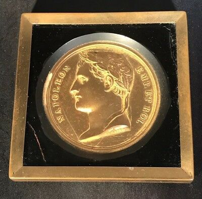 Vintage French Brass Napoleon Medallion In A Brass And Glass Case