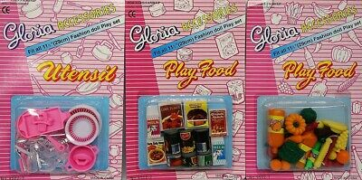 3SET Gloria Accessories Barbie Size Dollhouse Plate Utensils Canned Vegies Fruit