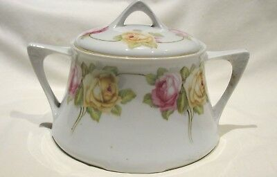 Vintage Z.S. & Co. Bavaria Porcelain China CRACKER BISCUT JAR Pink Yellow Roses
