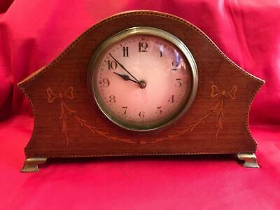Vintage Inlaid Wooden Mantle Clock
