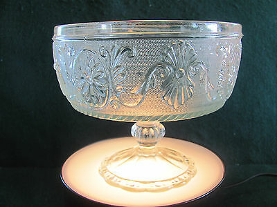 Vtg Clear Sandwich Glass Pedestal Compote W Oval Floral Design / E.o.brody Co.