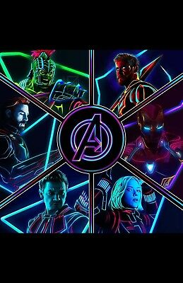 AVENGERS iNFINITY  WARS__neon COLLAGE 11X17 MOVIE POSTER COLLECTIBLE
