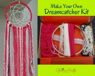 DIY Dreamcatcher kit Boho, Crimson, Craft, Wallhanging, Birthday Gift, Christmas