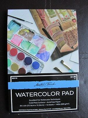 """MASTER'S TOUCH WATERCOLOUR PAD - 4"""" x 6"""" - 12 SHEETS 300g/m2 ACID FREE PAPER"""