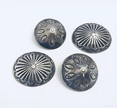 Vintage Native American NAVAJO Silver stamp work Concho BUTTONS (37.2 grams)