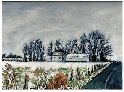 Landscape Art PRINT,Winter Countryscape Acrylic Painting,pastoral rural wall art