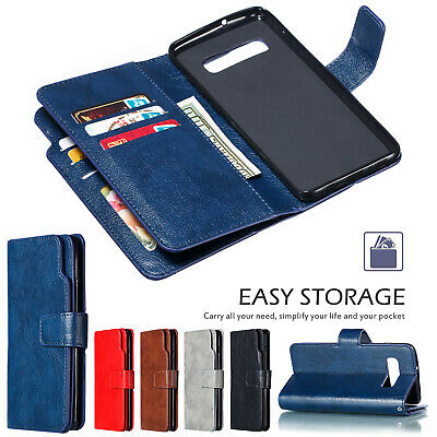 For Samsung Galaxy S10 + S10e Case Leather Card Holder Magnet Flip Wallet Cover