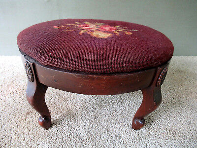 "Antique Needlepoint Stool Oval Vintage Victorian 4 Arched Legs, 15"" x 12-3/4"""