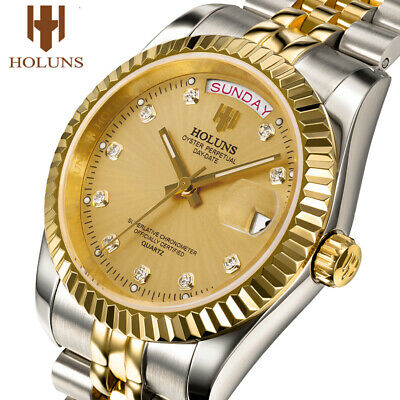 Holuns Mens Watches Stainless Steel Classic Gold Male Quartz Wrist Watch 38mm