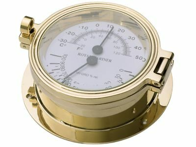 THERMOMETER and HYGROMETER GAUGE, ROYAL MARINER 140mm CAST BRASS #C622LTH