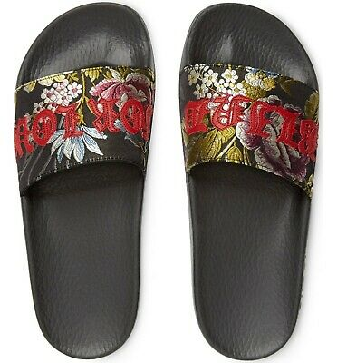 0721ef3d4a761c GUCCI NEW  495 Blind For Love Floral Pool Slides Sandals Shoes Size 35 US 5