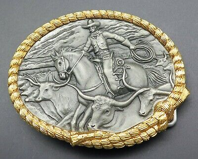Western Cowboy Cattle Drive Longhorn Steer Pewter Vintage Belt Buckle