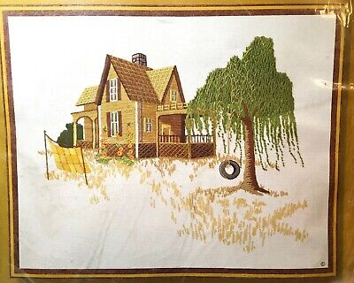 Sunset Stitchery COUNTRY HOME weeping Willow & Tire Swing Crewel Embroidery KIT