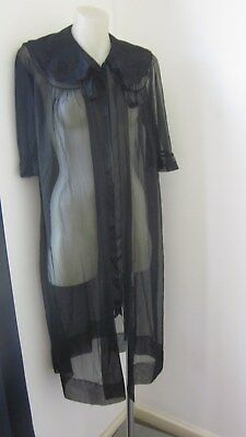 1950,s orig vint Emstra black lacy,appliqued honeymoon negligee.NWOT.Size 10