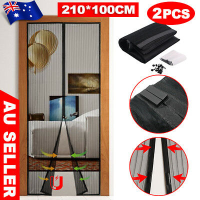 2X Magnetic Door Mesh Fly Screen Magic Magna Bug Mosquito Curtain Sets Black TW