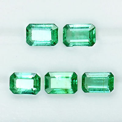 2.31 Cts Natural Top Green Emerald Cut Loose Gemstone Octagon Lot 6x4 mm Zambia