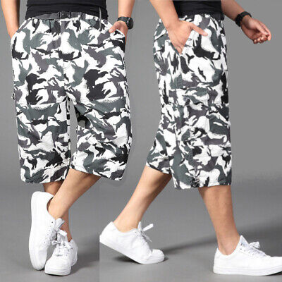 MENS NEW CARGO LONG WALK SHORTS 6 POCKET CASUAL CAMOUFLAGE PANTS SIZES 32 to 46