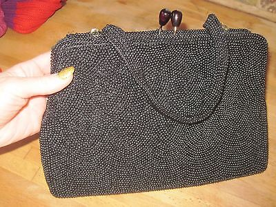 Vintage 1940's Black Beaded Silk Lined Purse by Walborg of Japan